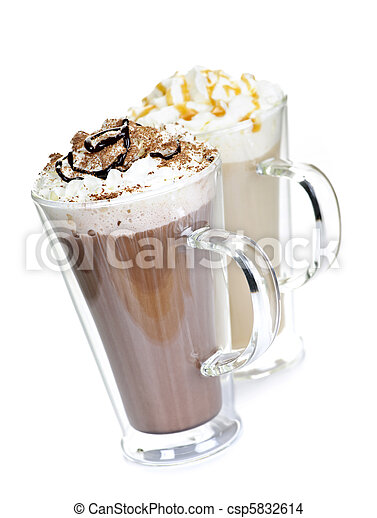Hot chocolate and coffee beverages - csp5832614