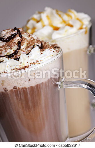 Hot chocolate and coffee beverages - csp5832617