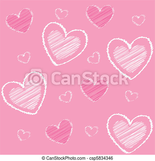 hearts valentine's icons, pink back - csp5834346