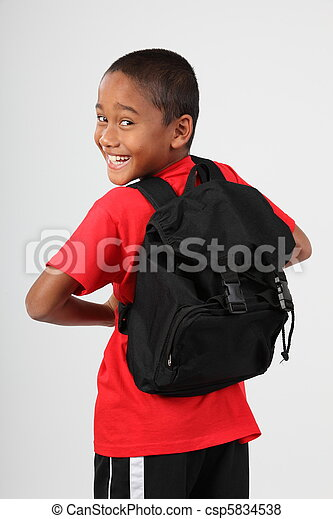 Cheerful school boy with back pack - csp5834538