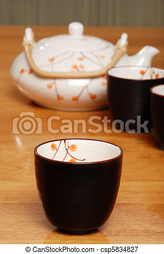 asian tea cup pot in the background - csp5834827