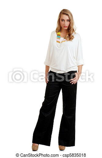 blond female wearing black pants - csp5835018