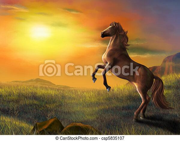 Rising horse - csp5835107