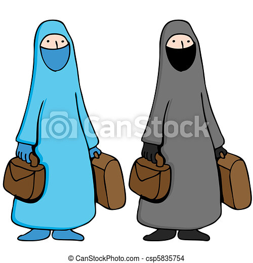 Muslim Woman Wearing Burka - csp5835754