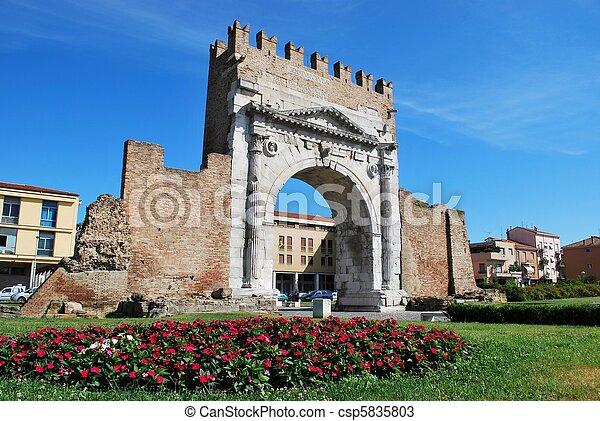 Augustus' triumph arch, Rimini, Italy - csp5835803