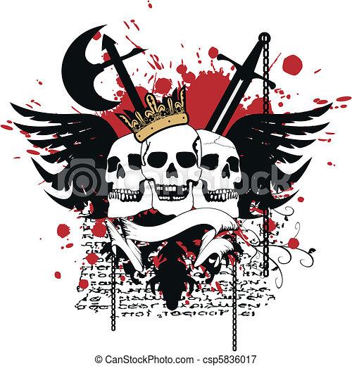 heraldic skull coat of arms5 - csp5836017