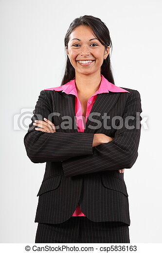 Business woman wearing suit - csp5836163