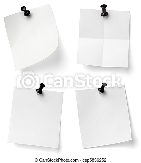 push pin and note paper office business - csp5836252
