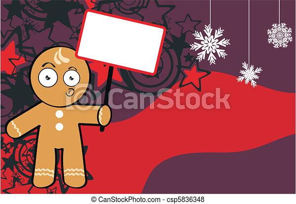Vettore di capretto biscotto cartone animato fondo - Cartone animato natale agrifoglio di natale ...