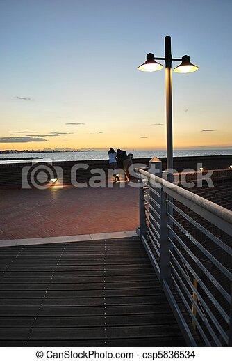 Sunset and coastline - csp5836534