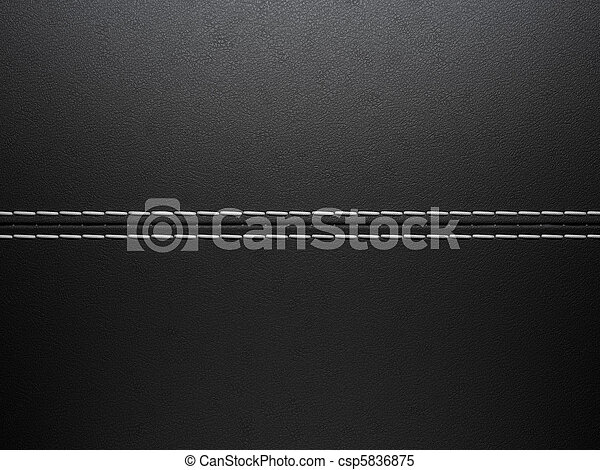 Black horizontal stitched leather background - csp5836875