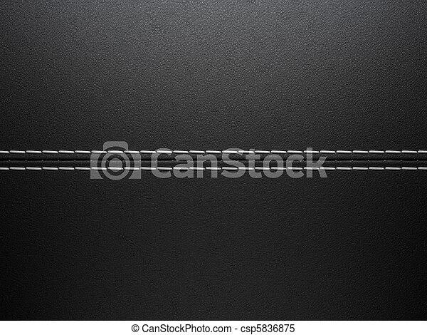 Black horizontal stitched leather background - csp5836875