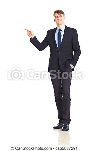 Young adult businessman pointing - csp5837291