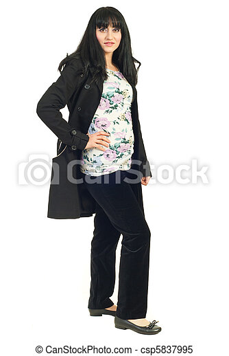 Mid adult woman in black jacket - csp5837995