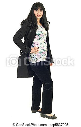 Mid adult woman in black jacket - csp5837995
