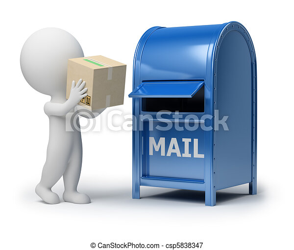 3d small people - mailing a package - csp5838347