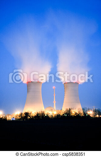 Nuclear power plant at dusk - csp5838351