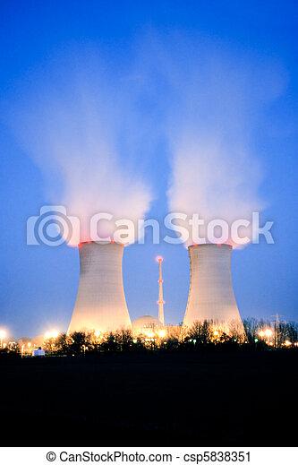 Nuclear power plant at dusk - csp5838351