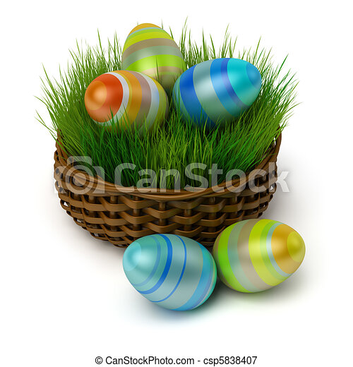 Easter eggs in a basket with a grass - csp5838407