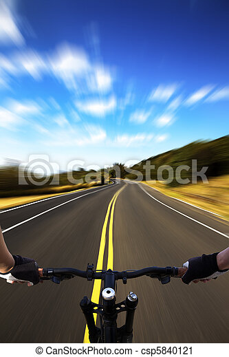 Bicycle rider with high speed view on the road - csp5840121