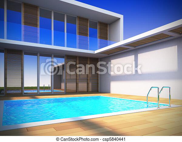 Modern house in minimalist style. - csp5840441