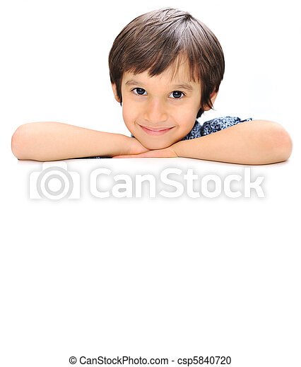 Advertising place for you, empty card, cute kid holding it - csp5840720