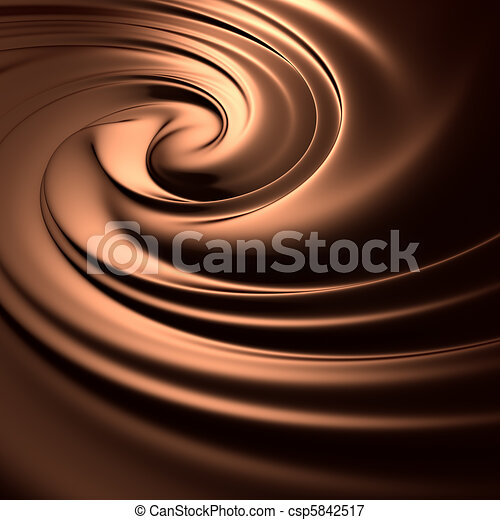 Astonishing chocolate swirl. Clean, detailed render. Backgrounds series. - csp5842517