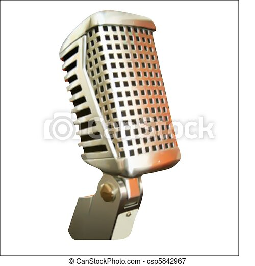 Professional Microphone Over Black Vector - csp5842967