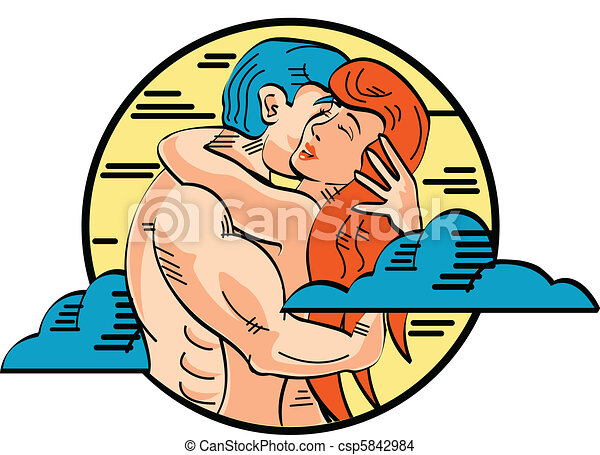 Romance Adam And Eve Love Pop Art - csp5842984