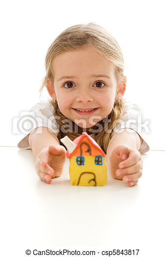 Ecstatic little girl with her clay house - csp5843817