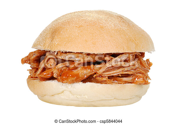 isolated pulled pork sandwich - csp5844044