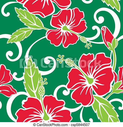 Seamless Tropical Holiday Pattern - csp5844507
