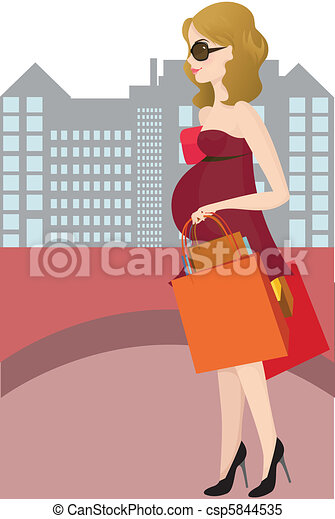 Shopping pregnant woman - csp5844535