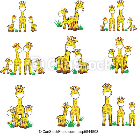 giraffe cartoon set 01 - csp5844803