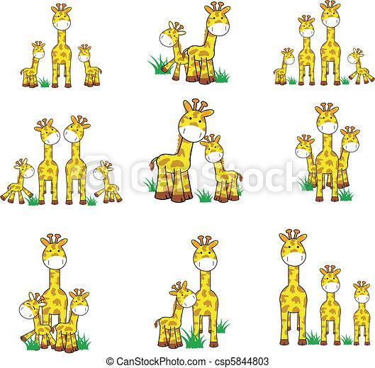 giraffe cartoon set 01 - csp5844803