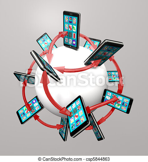 Smart Phones and Apps Global Communication Network - csp5844863
