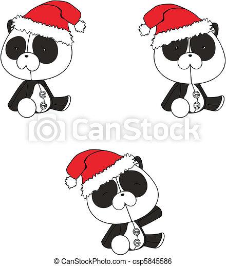 Clipart vettoriali di cartone animato natale panda - Cartone animato natale agrifoglio di natale ...