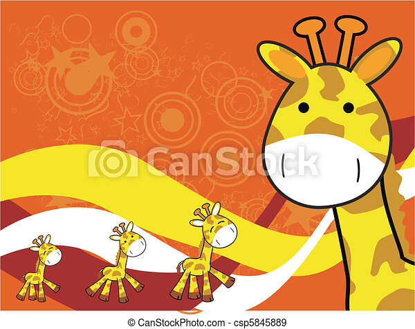 giraffe cartoon background5 - csp5845889