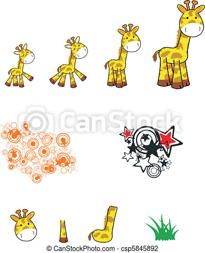 giraffe cartoon set - csp5845892
