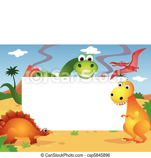dinosaur and white blank space - csp5845896