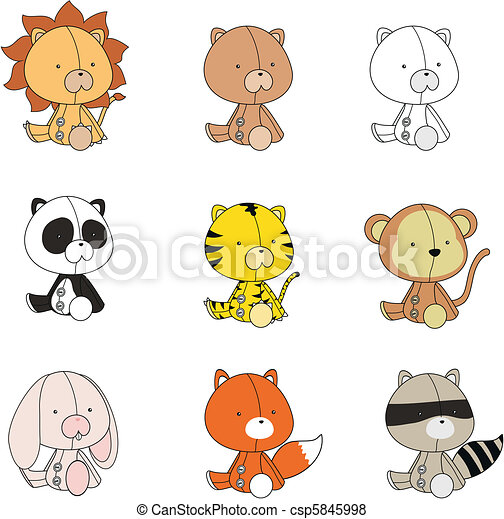 baby animals plush cartoon set - csp5845998