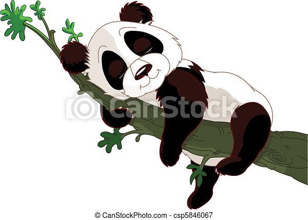 mignon panda dormir sur a branche