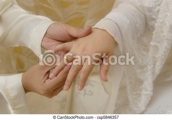 Mans Hand Putting a Wedding Ring on The Brides Finger  - csp5846357