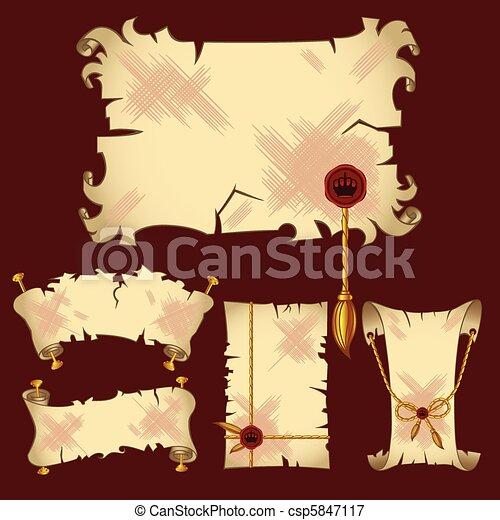 Ancient parchment banners - csp5847117