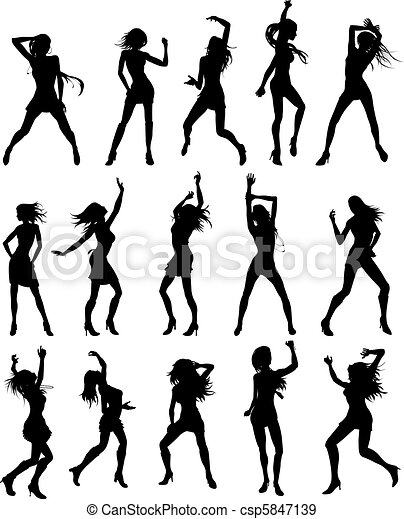 hermoso, mujeres, bailando, Siluetas - csp5847139