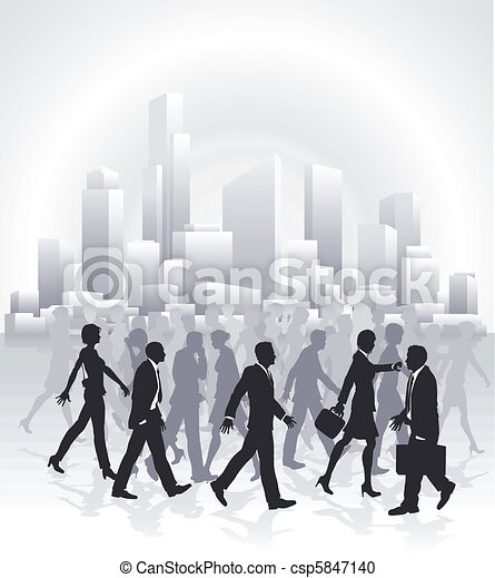 Business people rushing in front of city skyline - csp5847140