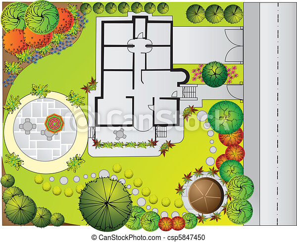 Vector clipart of landscape plan plan of landscape and for Garden design graphics