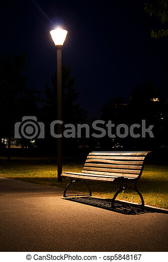 berlin park night bench lantern - csp5848167