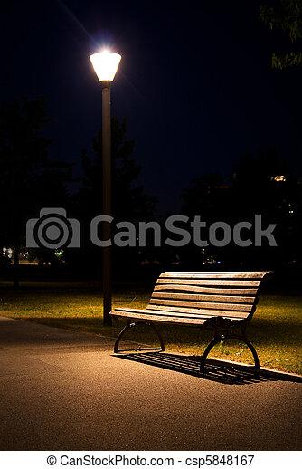 berlin park night bench lantern - csp5848167