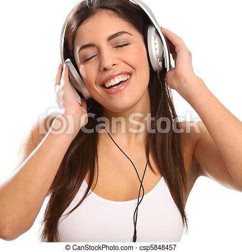 Girl music lover singing - csp5848457